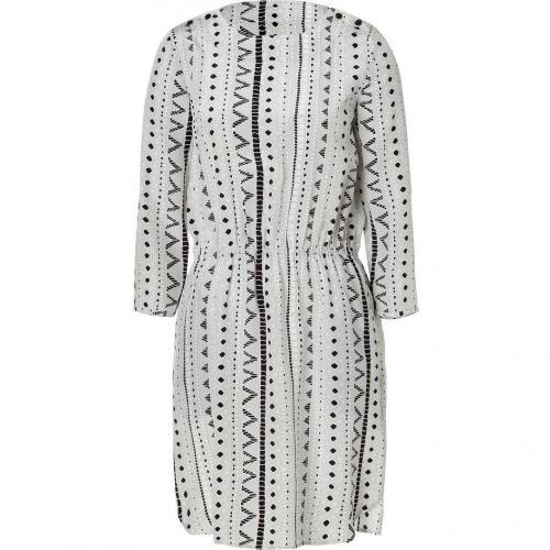 Tibi Silver Grey Drawstring Silk Dress