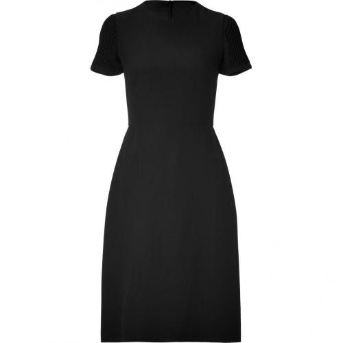 Valentino Black Silk Dress with Matelassé Sleeves