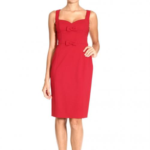 Valentino Crepes wool sleeveless v neck bow dress