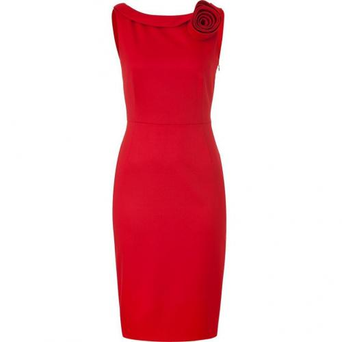 Valentino Crimson Red Classic Dress with Rose