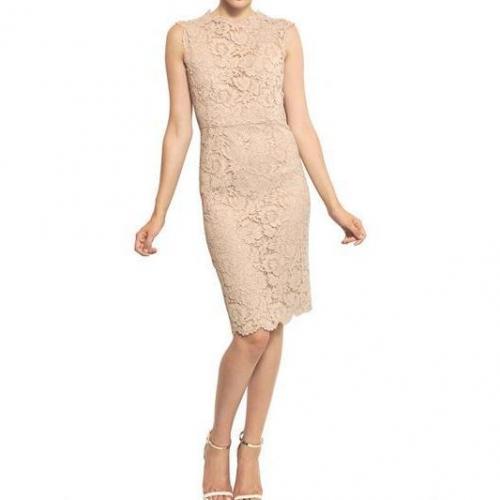 Valentino Kleid Aus Baumwolle Viskose Spitze Beige