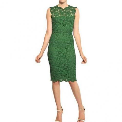 Valentino Kleid Aus Baumwolle Viskose Spitze Grün