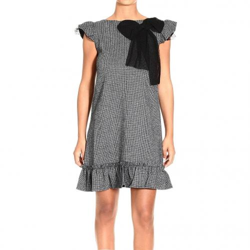 Valentino Short sleeve pied de poule plumetis detail dress