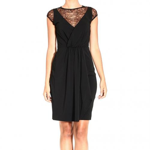 Valentino Sleeveless jersey drape lace dress