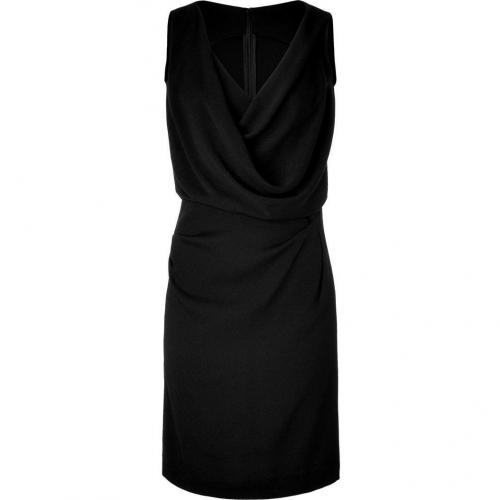 Veronique Leroy Black Draped V-Neck Dress