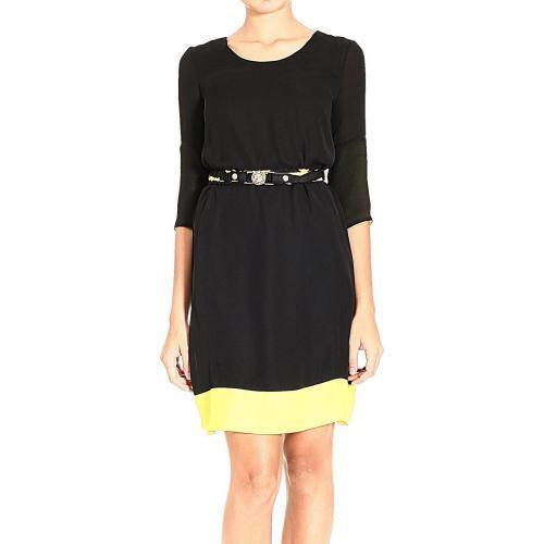 Versace 3/4 sleeve round neck contrast belt dress
