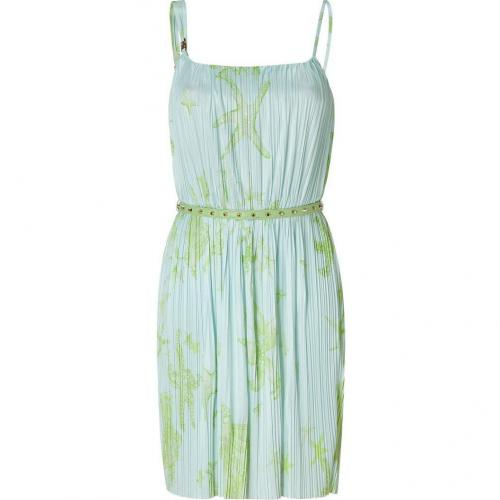 Versace Acqua and Peridot Pleated Dress