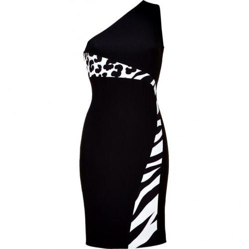 Versace Black/Ivory One Shoulder Dress