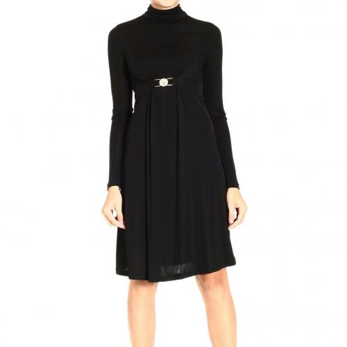 Versace Long sleeve jersey high collar buckle dress