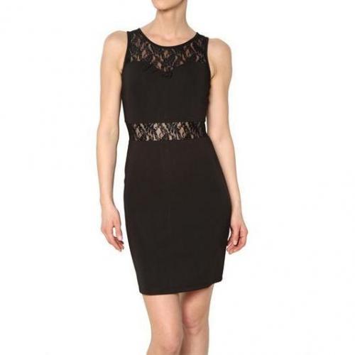 Yumi Spitze Und Techno Jersey Kleid