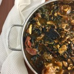 Nigerian Bitterleaf soup in a sauce pot