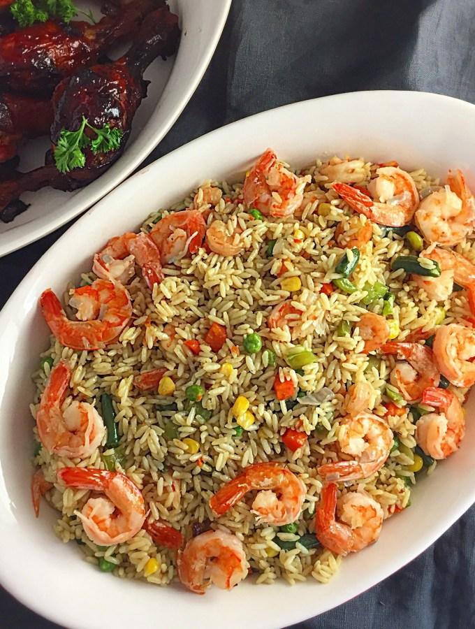 Nigerian Fried Rice with Shrimps