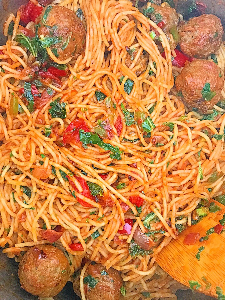Kale Jollof Spaghetti & Meatballs