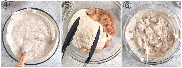 collage showing yogurt marinade for instant pot Chicken tikka masala