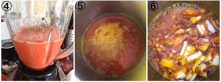 Collage on how to make Potato porridge showing blended bell peppers in a blender, a bowlpot of oil with sizzling onions