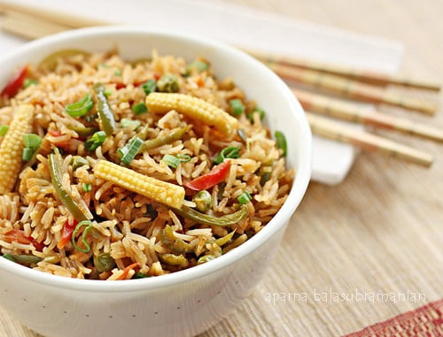 Indian style chinese vegetable fried rice recipe my diverse indian style chinese vegetable fried rice forumfinder Images