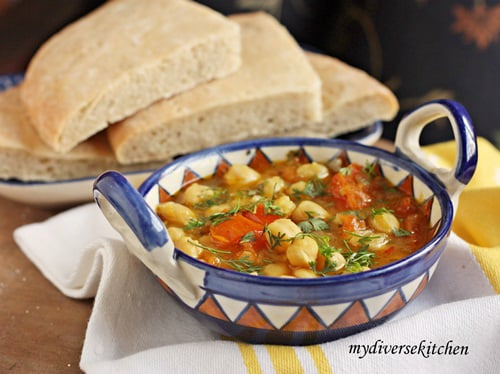 Moroccan Style Chickpea Soup With K'sra – Moroccan Aniseed Flatbread