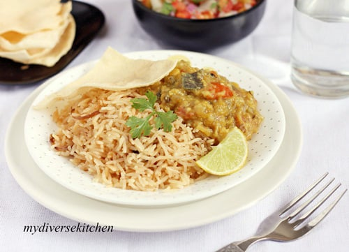 Vegetable Dhansak, Parsi Brown Rice And Kachumbar – An Indian Style Salsa