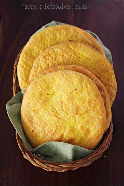 We Knead To Bake #22 : Sheermal/ Shirmal (Saffron Flavoured Flatbread)