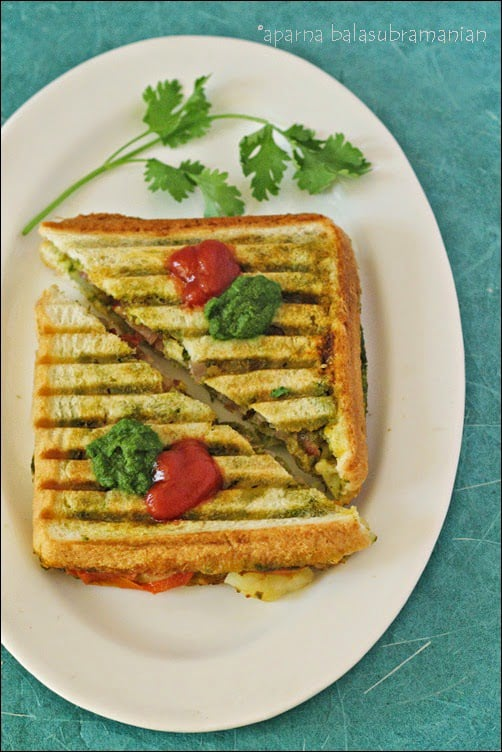 Indian Street Food – The Bombay Green Chutney Sandwich (Grilled Version)