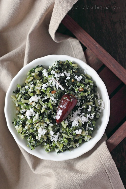 Keerai (or Cheera) Poduthuval/ Thoran (Amaranth Leaves With Rice And Coconut)