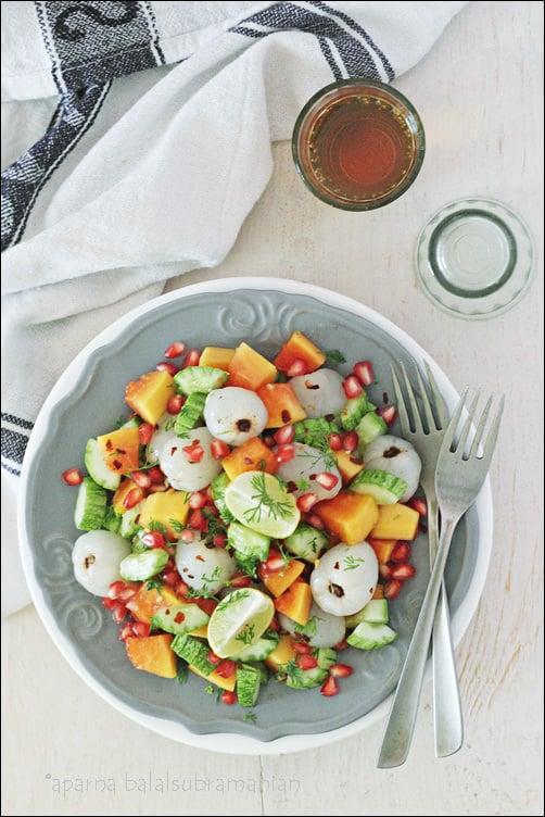 Cucumber, Papaya & Lychee (Litchee) Salad With Pomegranate
