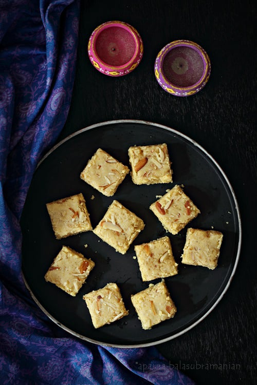 Seven Cup Almond Burfi or Seven-Cup Almond Cake – Indian Style Chickpea Flour, Coconut & Almond Fudge