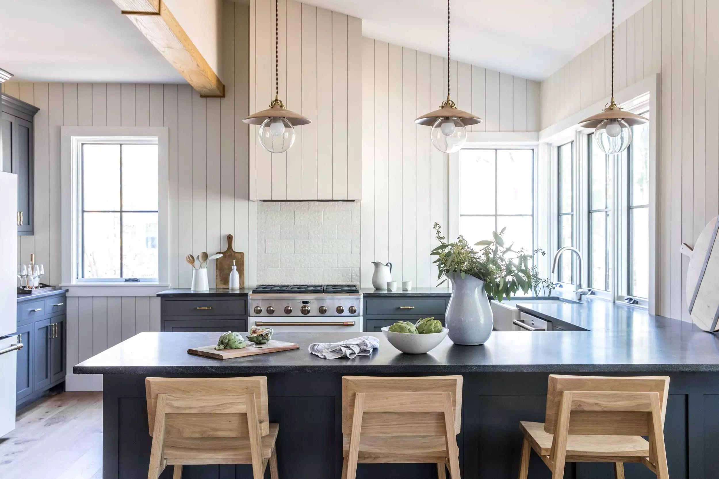 Beige paneling in kitchen