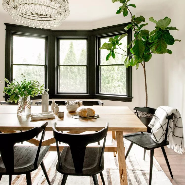 Naturalistic dining room.