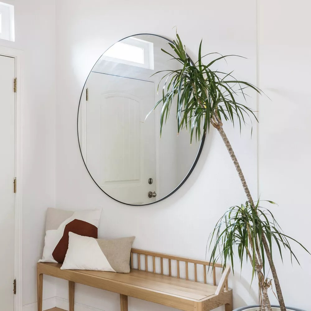 Entryway with wooden bench, large round mirror, and palm tree.