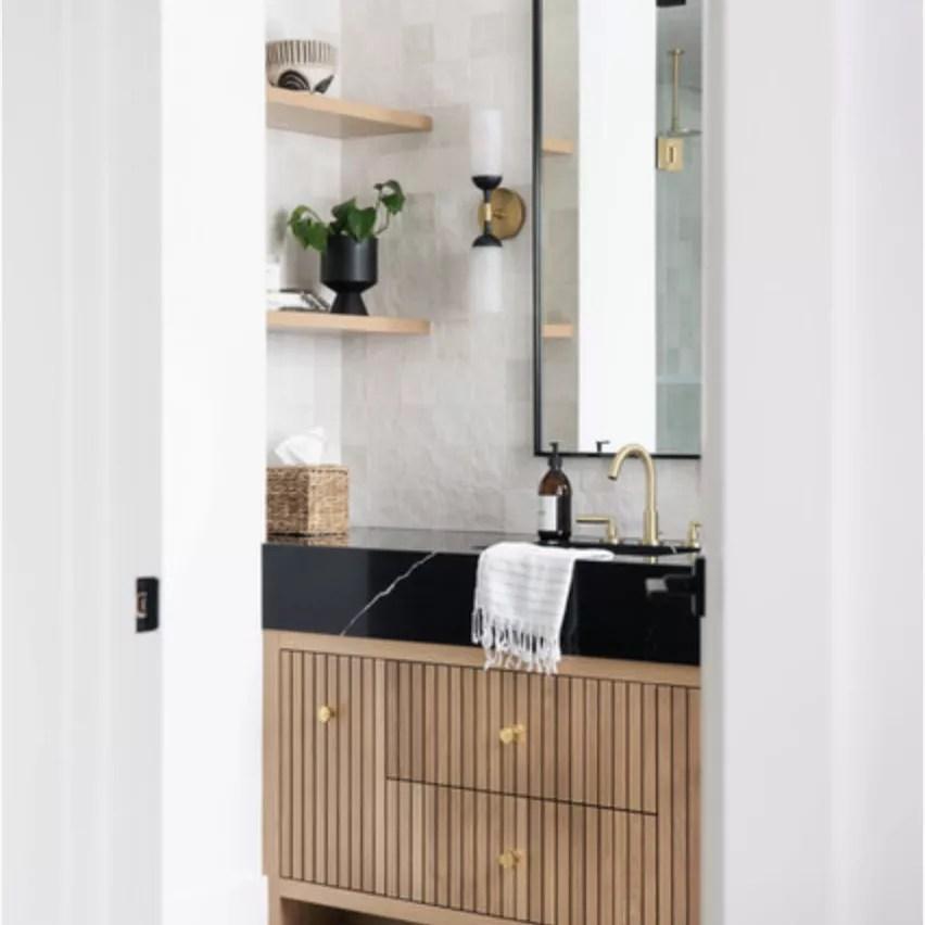black and wooden bathroom, white walls, wooden floating shelves