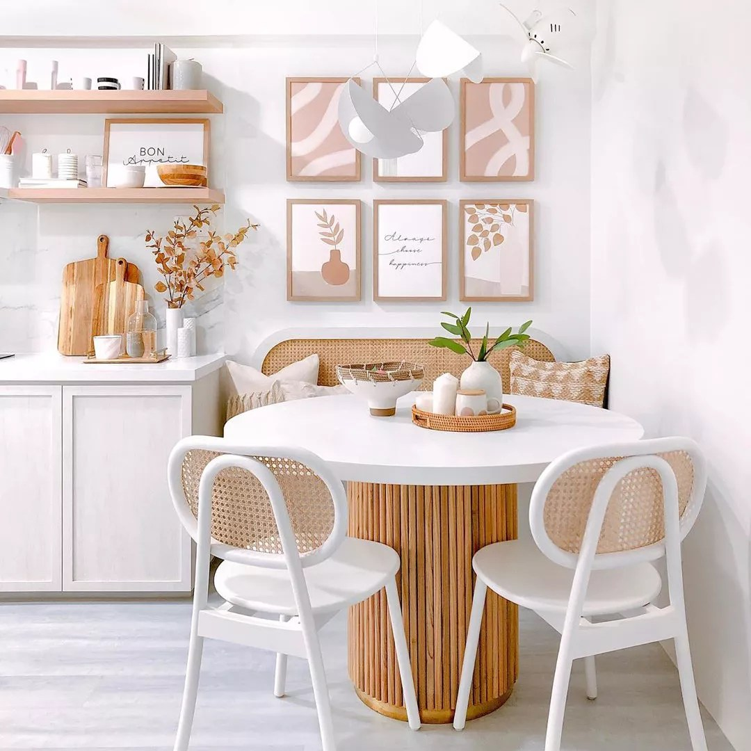 White and pink dining nook.