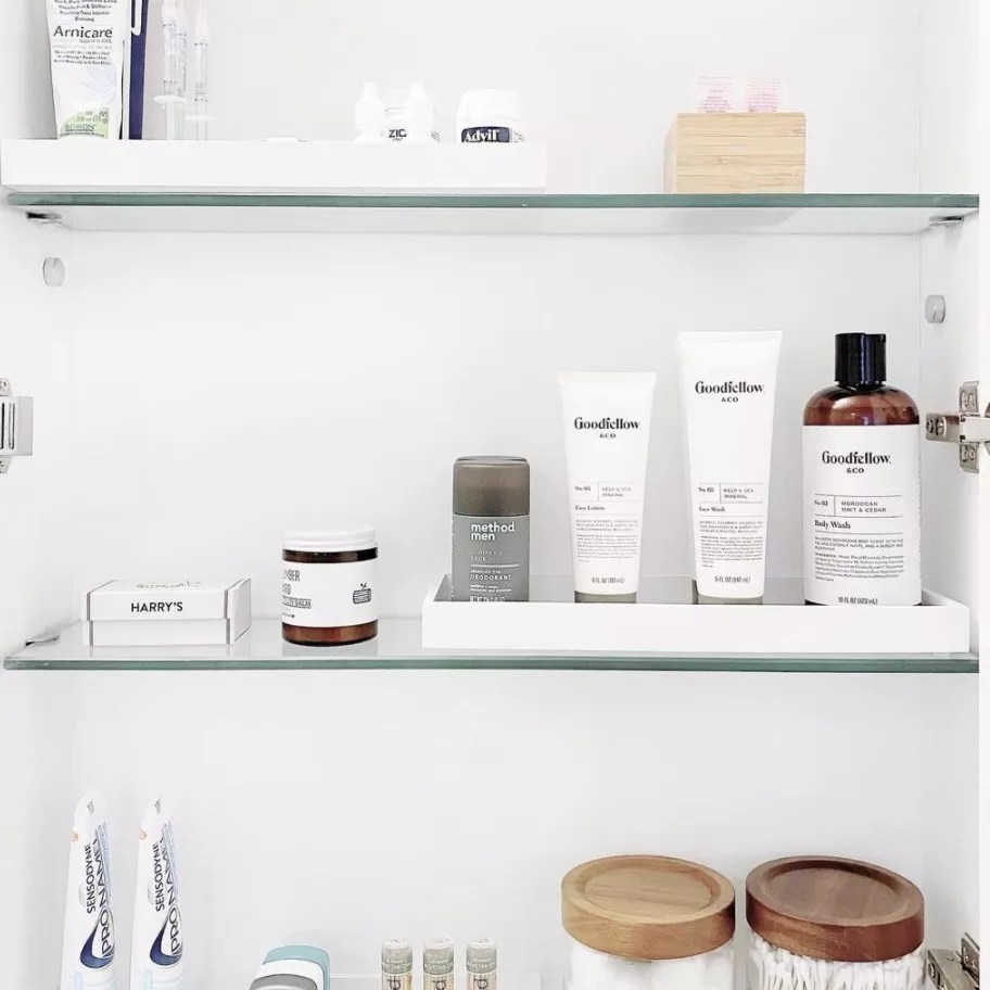 Neat inside of vanity cabinet.