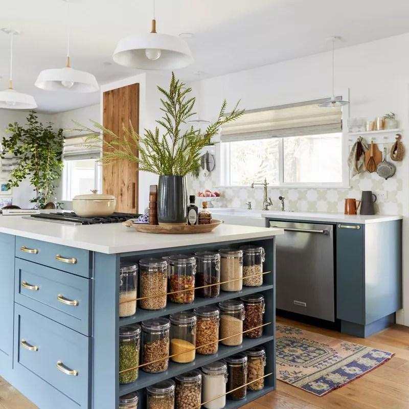 Kitchen island with dry storage