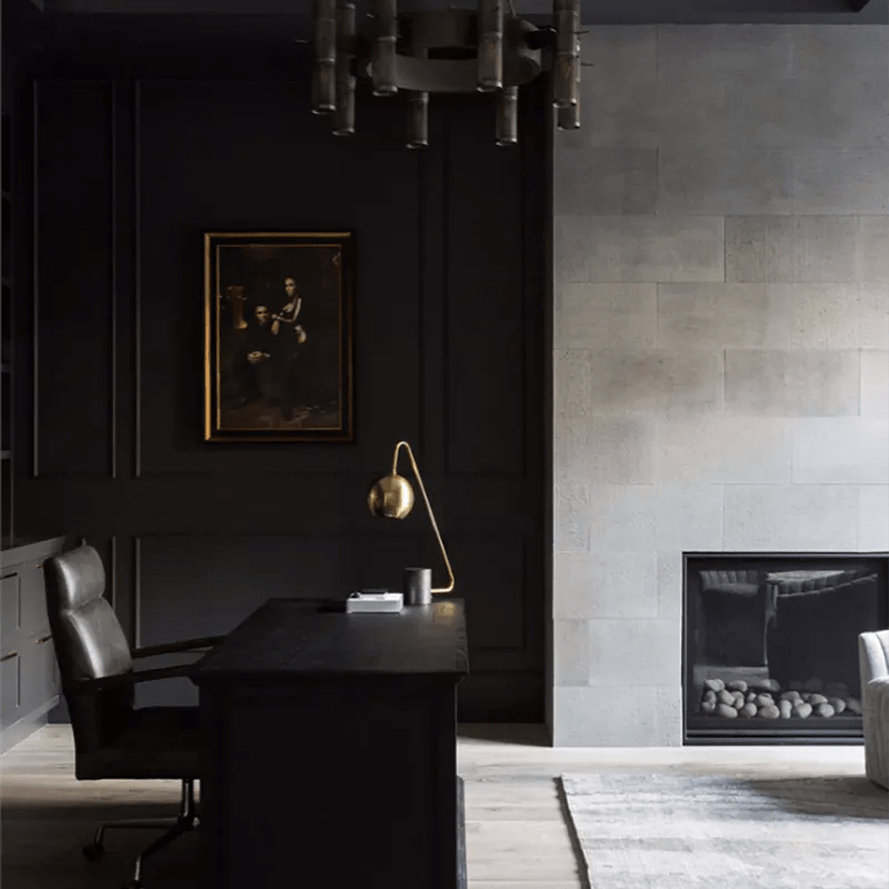 Black office and sitting room.