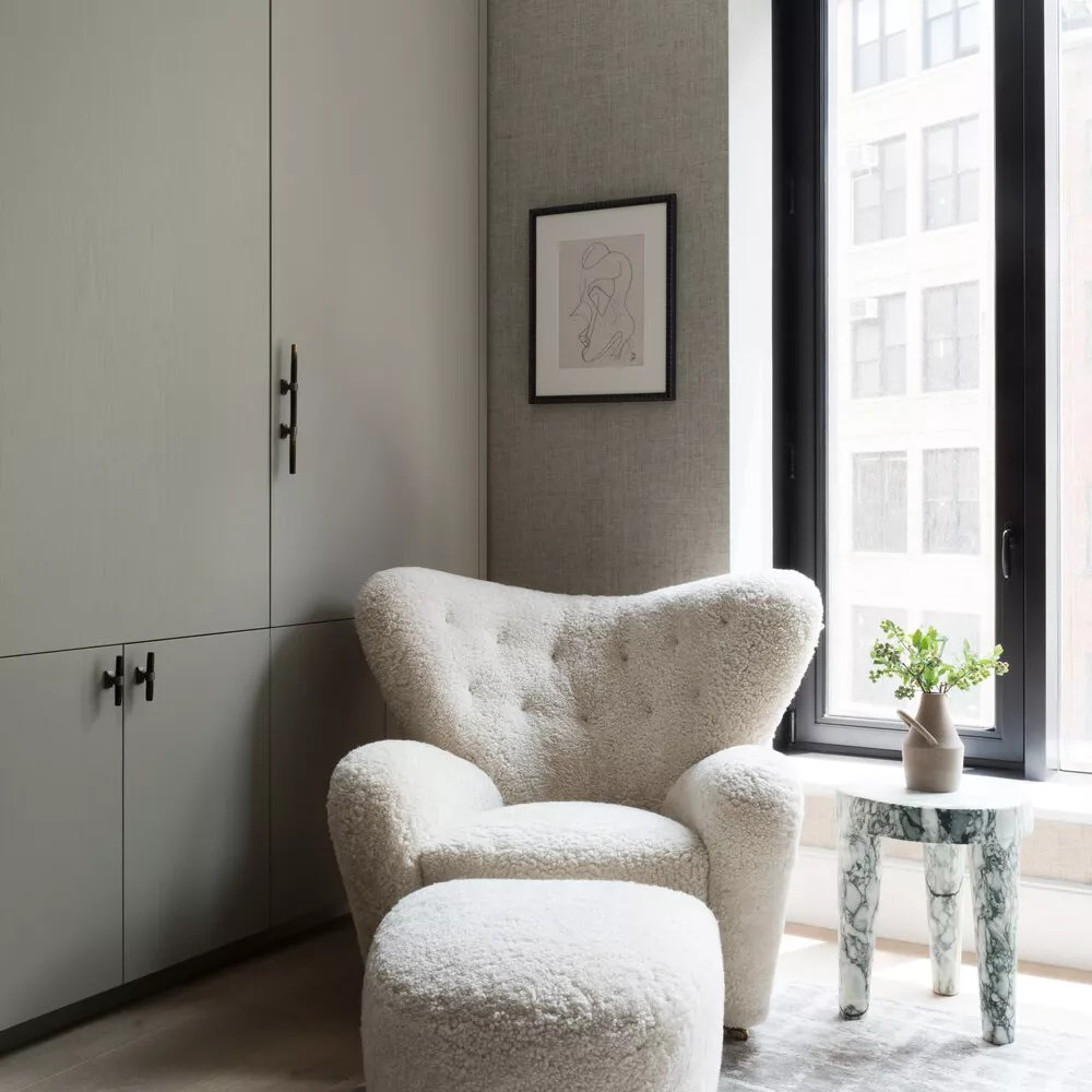Cozy boucle accent chair with matching ottoman.