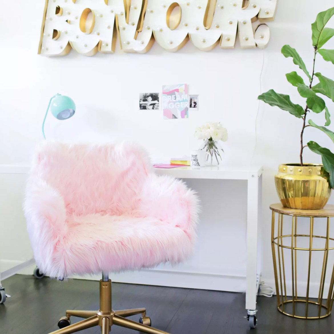 DIY Faux Fur Office Chair Makeover