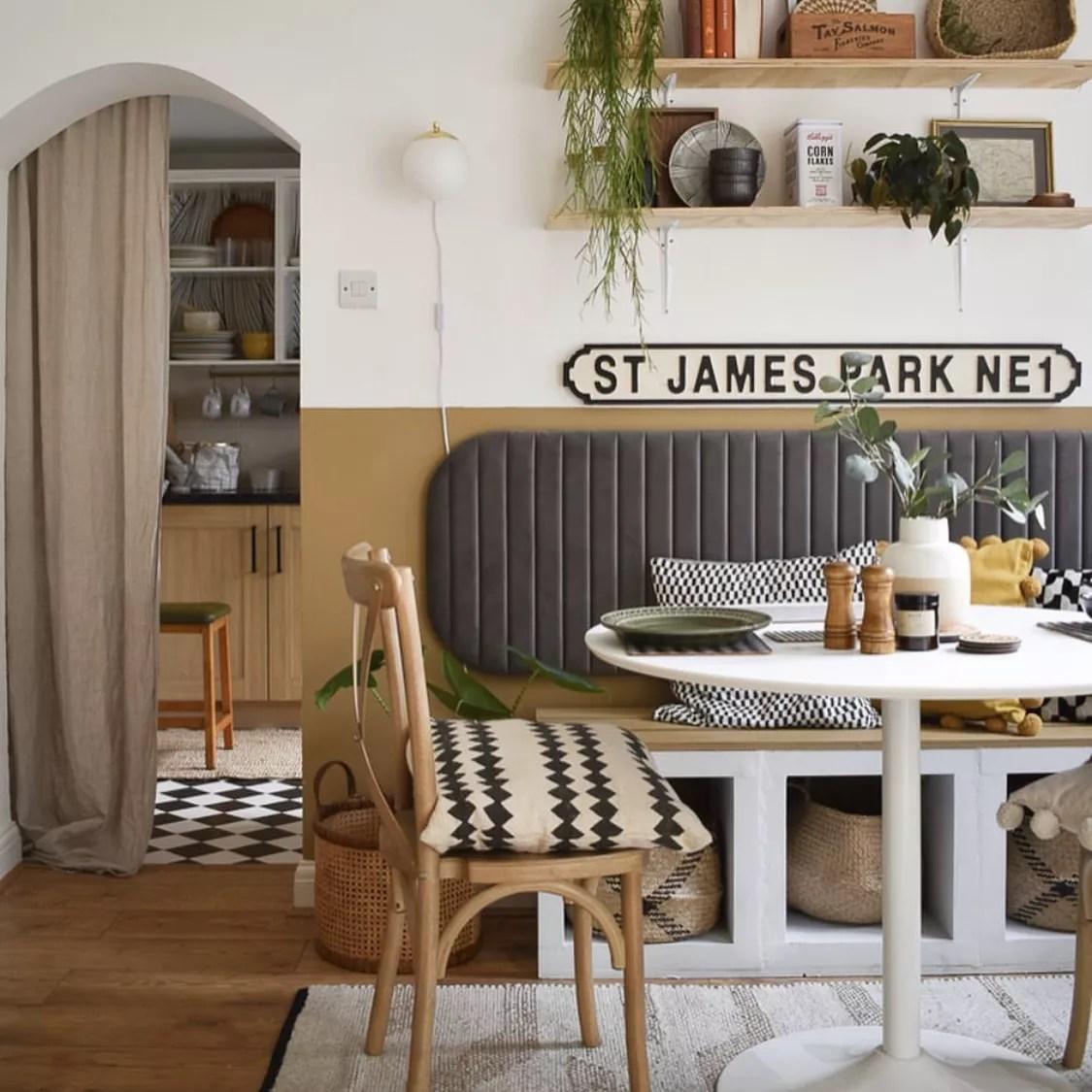 Colourblocked dining nook.