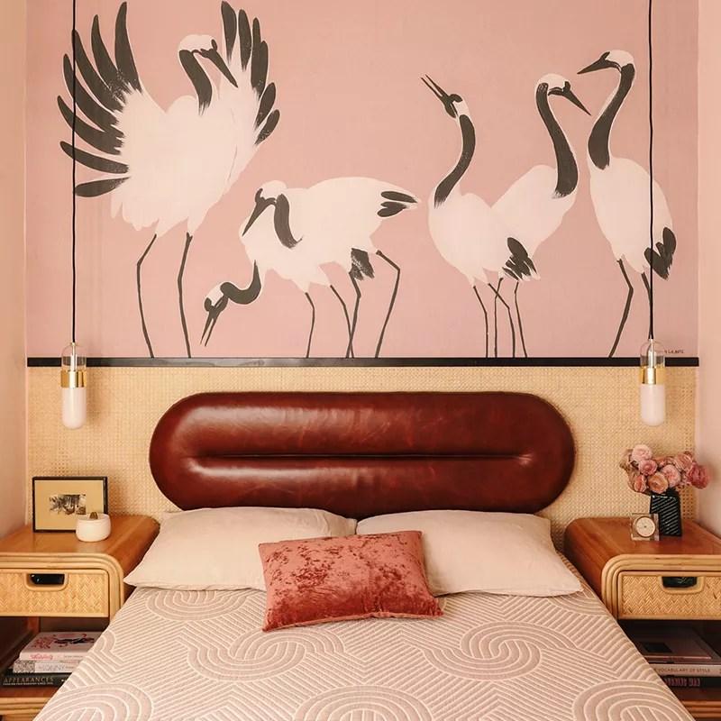 Pink retro bedroom.