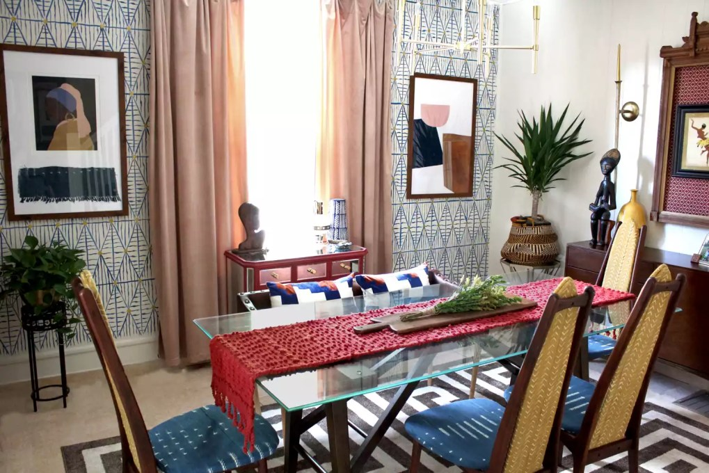 Colorful, eclectic dining room inspired by Black and African culture