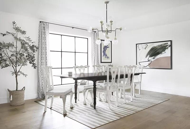 White monochromatic dining room.