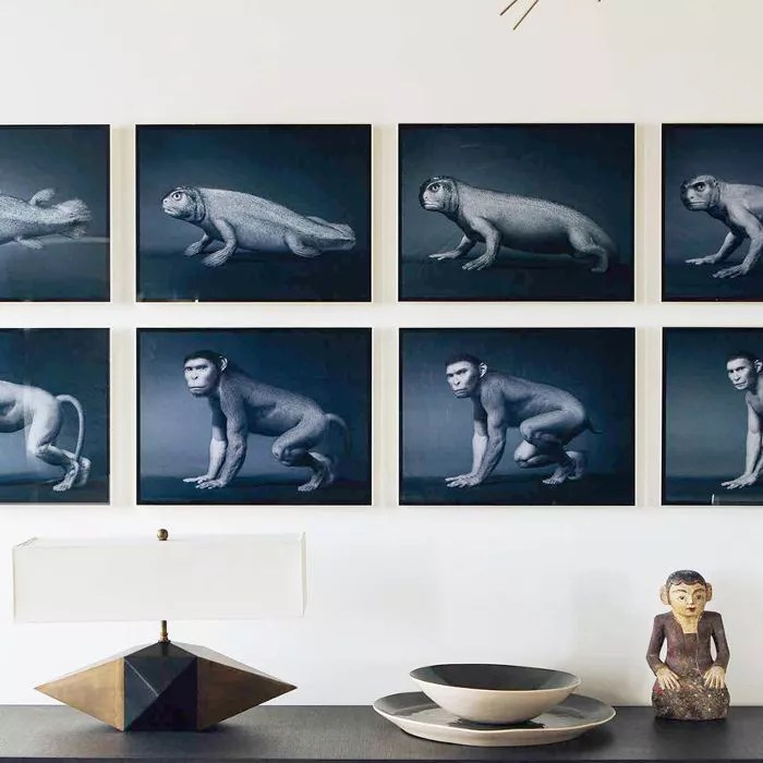 A gallery wall as dining room décor
