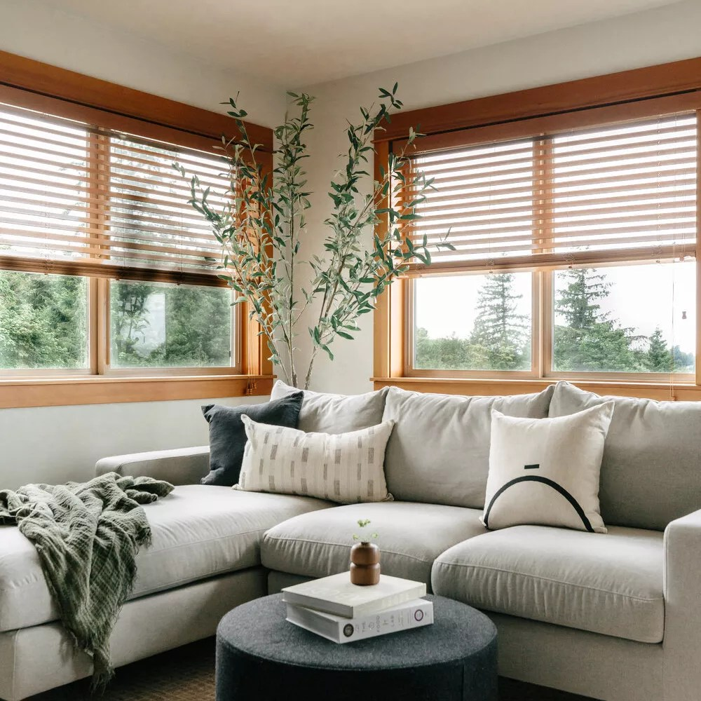 Wooden blinds in living room