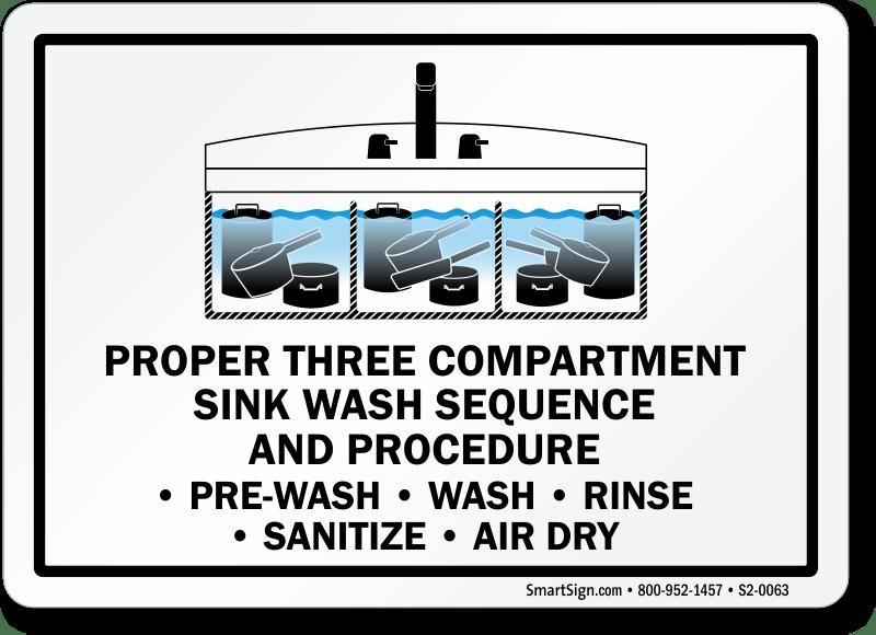 proper three compartment sink wash