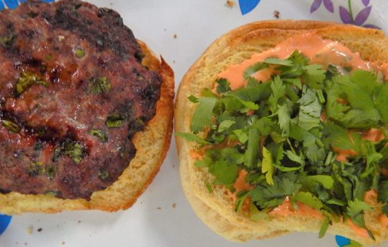 Cilantro Burgers with Spicy Mayo