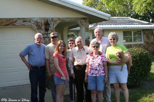 Dad, Uncle Roger, Stephanie, Aunt Sadie, Grandpa, Mom, Uncle Bob, Aunt Bette -- one of the last pictures I took of Grandma and Grandpa's house.