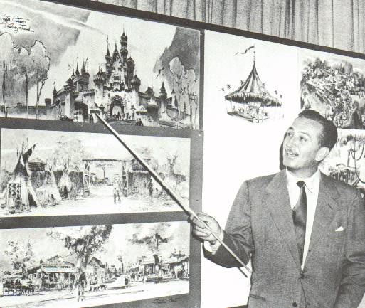 """Walt Disney explaining some of the planning that is going into his new """"Disneyland"""" park!"""
