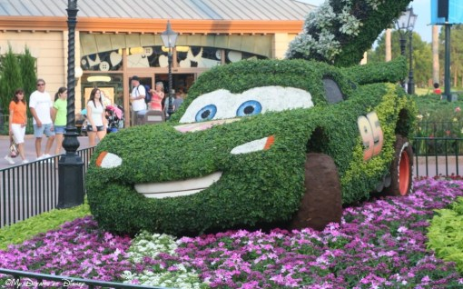 Lightning McQueen, one of the big topiaries during the Epcot International Flower & Garden Festival!