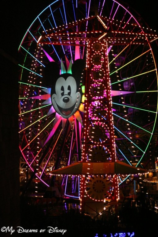 Mickey's Fun Wheel at night from our balcony.