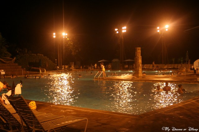 Lastly, the Big Dig pool site at Coronado Springs Resort is a great place for a nighttime swim!